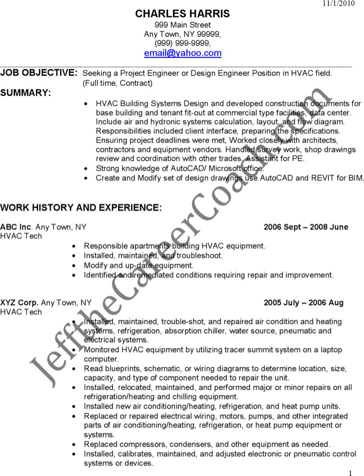 Hvac Resume Samples | Sample Resume And Free Resume Templates