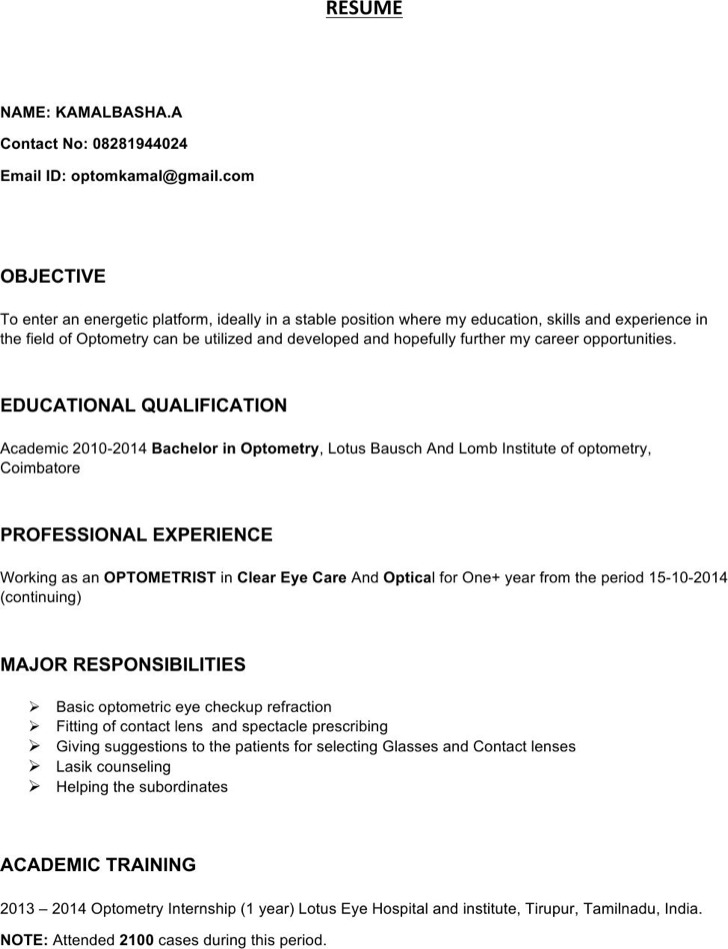 Optometrist Resume Templates  Download Free  Premium Templates