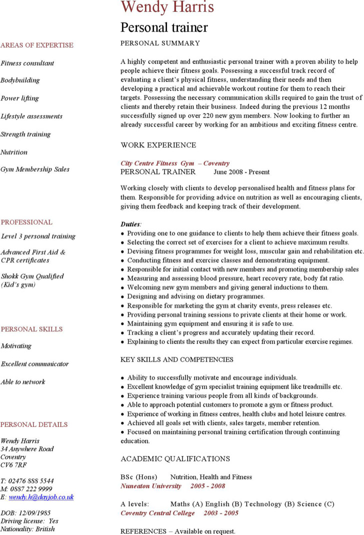 Personal Trainer Resume Templates – Personal Trainer Resume