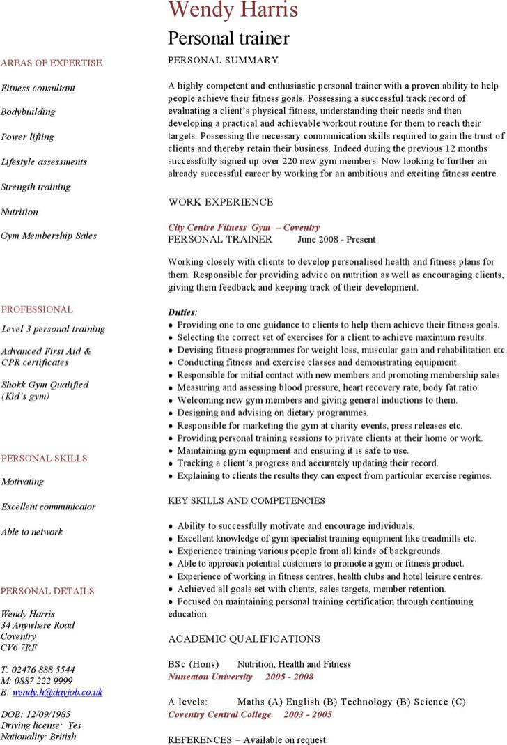 Personal Trainer Resume Templates | Download Free & Premium