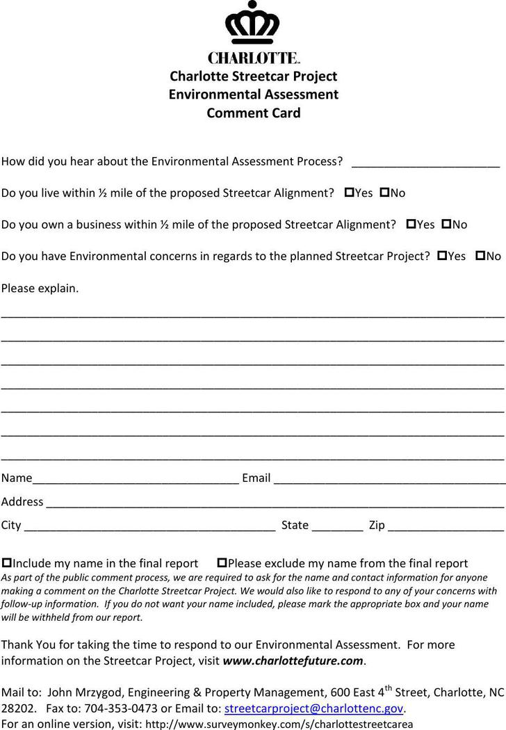 Environment Assessment Comment Card Doc