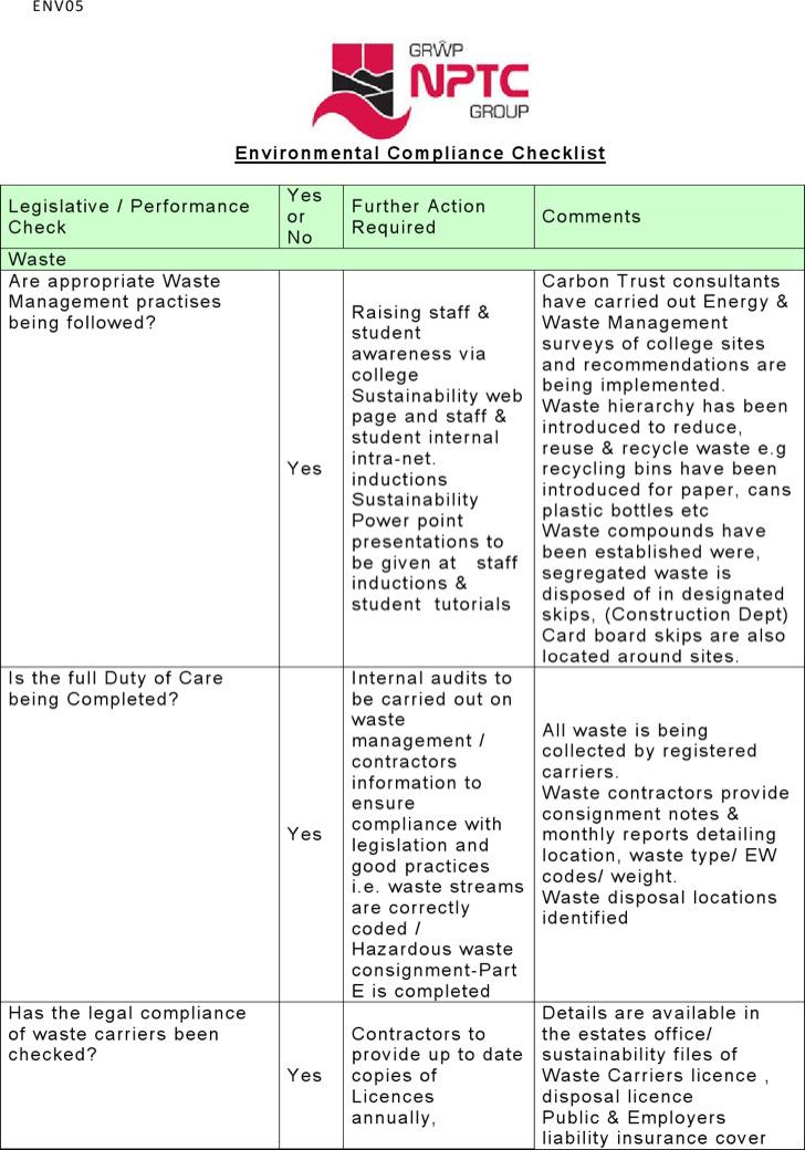 Environmental Compliance Checklist Template
