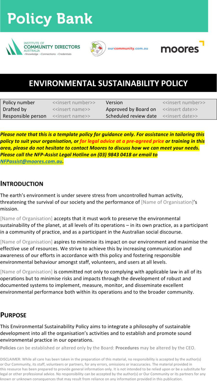 Environmental Sustainability Policy Template