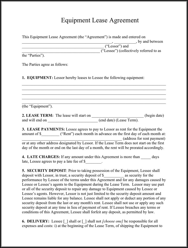 Equipment Lease Agreement  Download Free  Premium Templates Forms