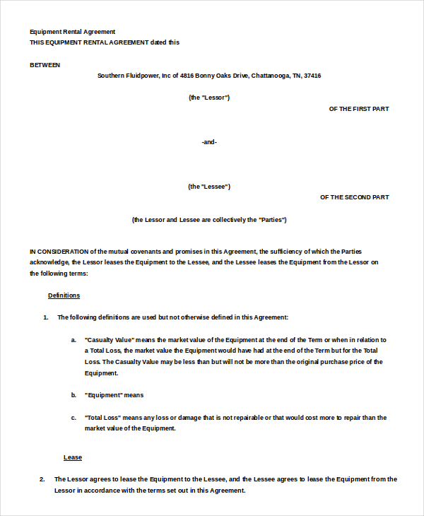 Equipment Rental Agreement Templates – Equipment Rental Agreement