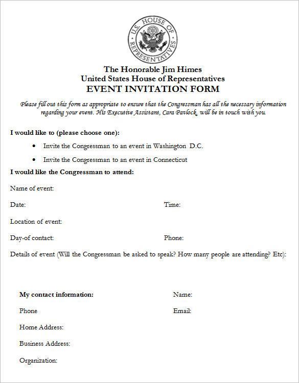 Event Invitation Form Template