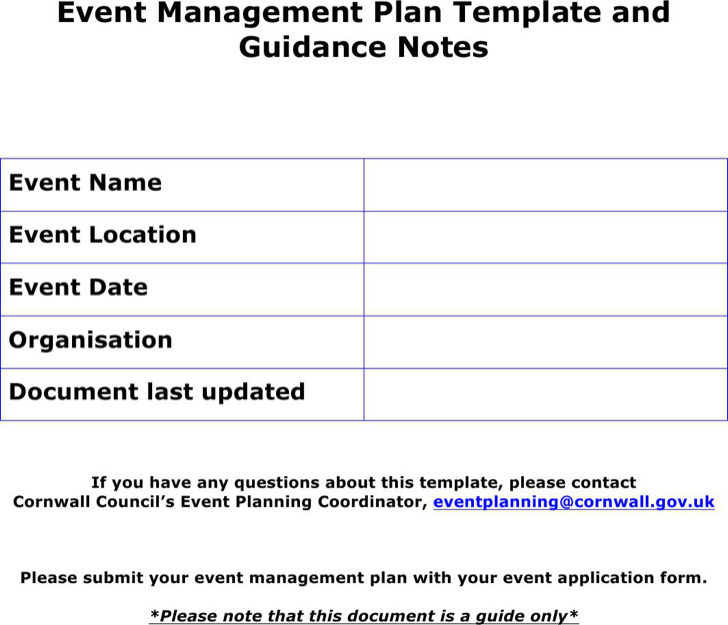event outline template