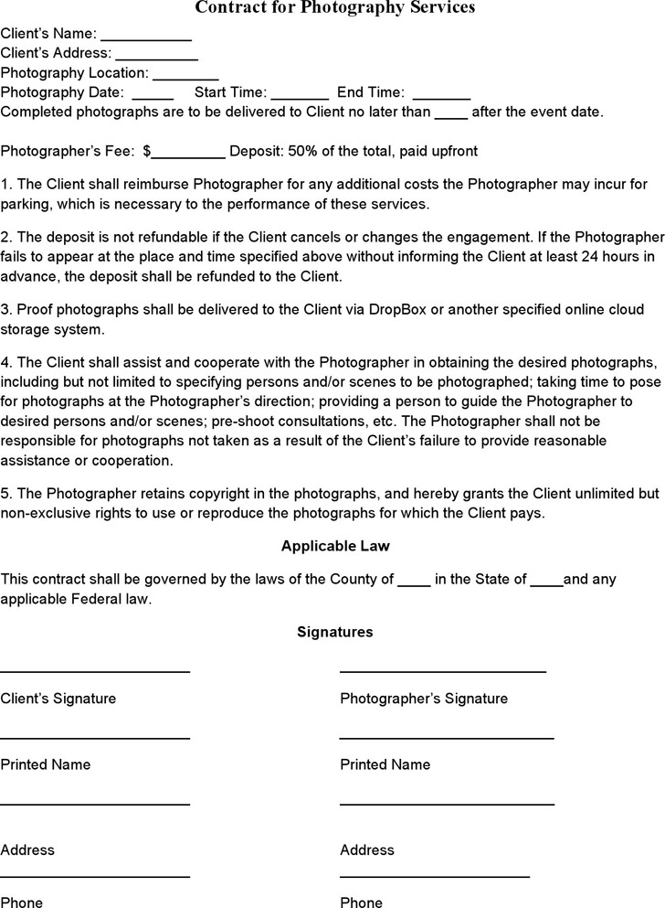 Photography Contract Template | Download Free & Premium Templates