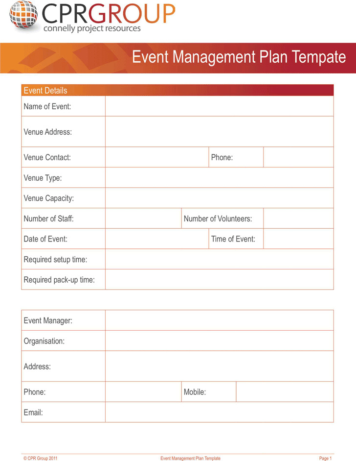 template event planning