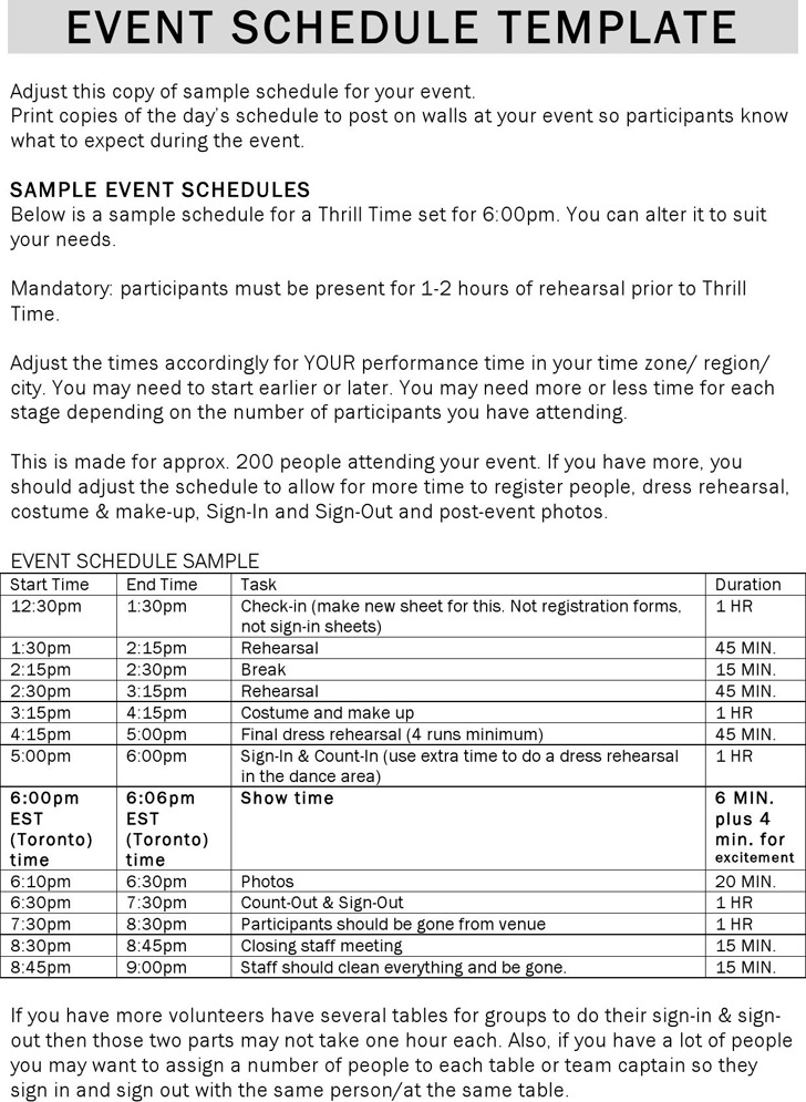 Event Schedule Template  Download Free  Premium Templates Forms