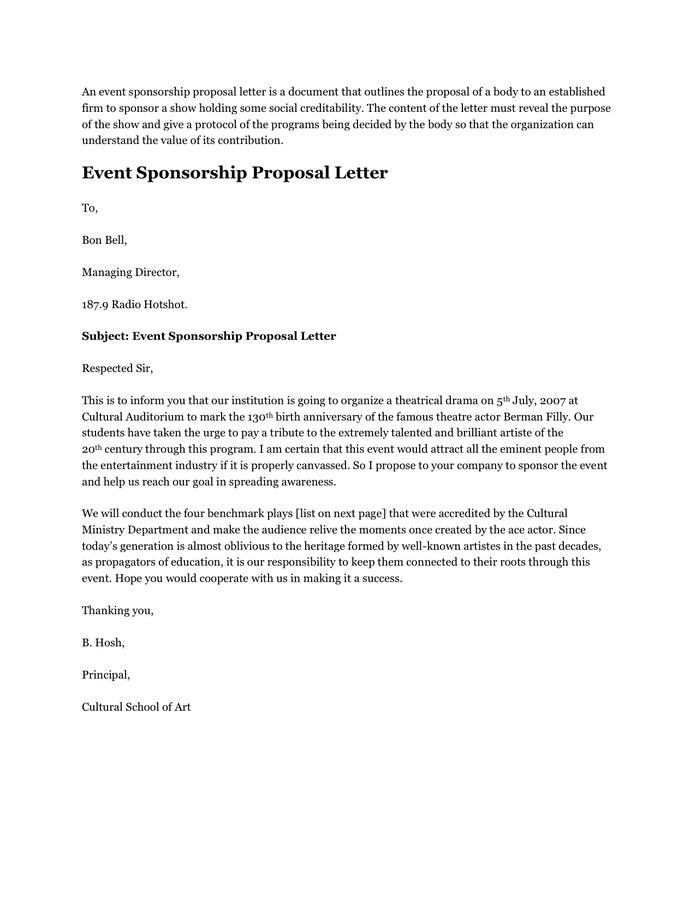 Art Proposal Template Sponsorship Proposal Template Download Free