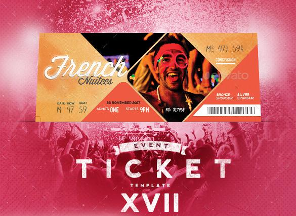 Event Tickets Template XVII PSD Format Design
