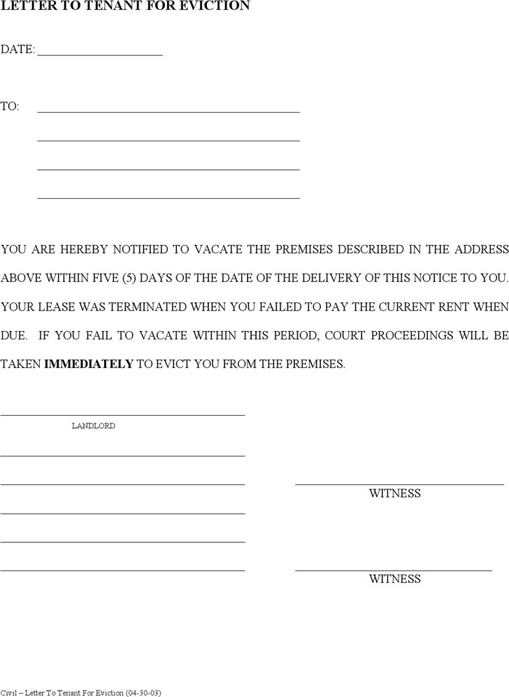 Eviction Notice Template – Eviction Notice Letter Free Download