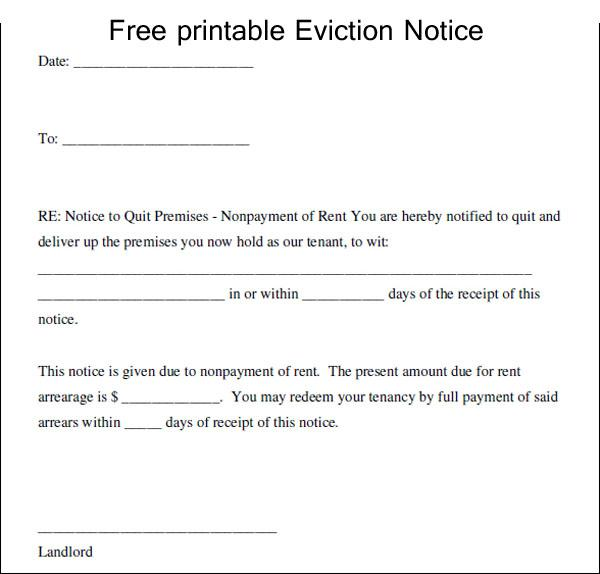Eviction Notice Template – Eviction Notice Template Free