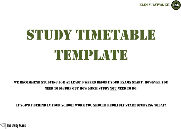 Exam Survival Timetable Template