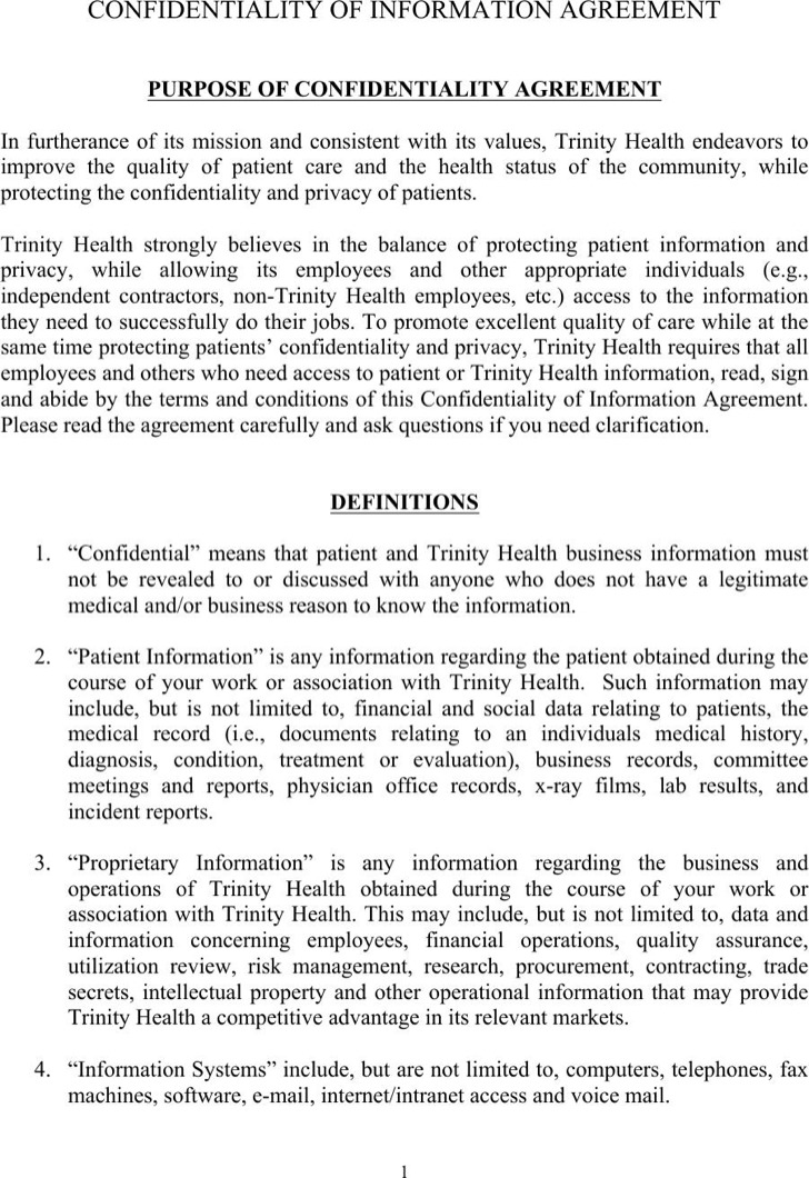 Data Confidentiality Agreement. Medical Patient Confidentiality
