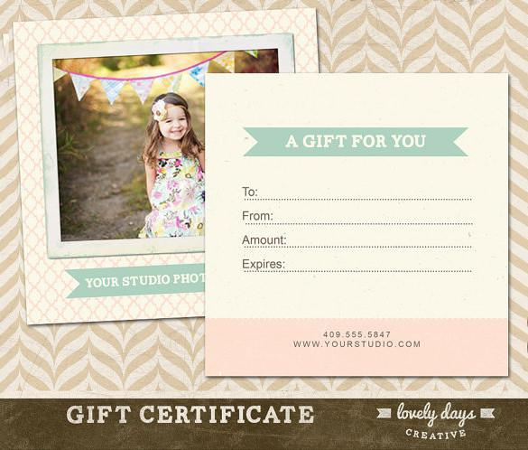 Example Baby Photography Gift Certificate Download