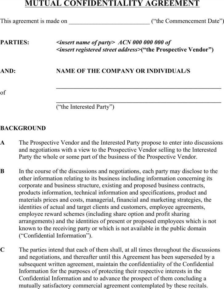 Basic Confidentiality Agreement Templates – Simple Vendor Agreement Template