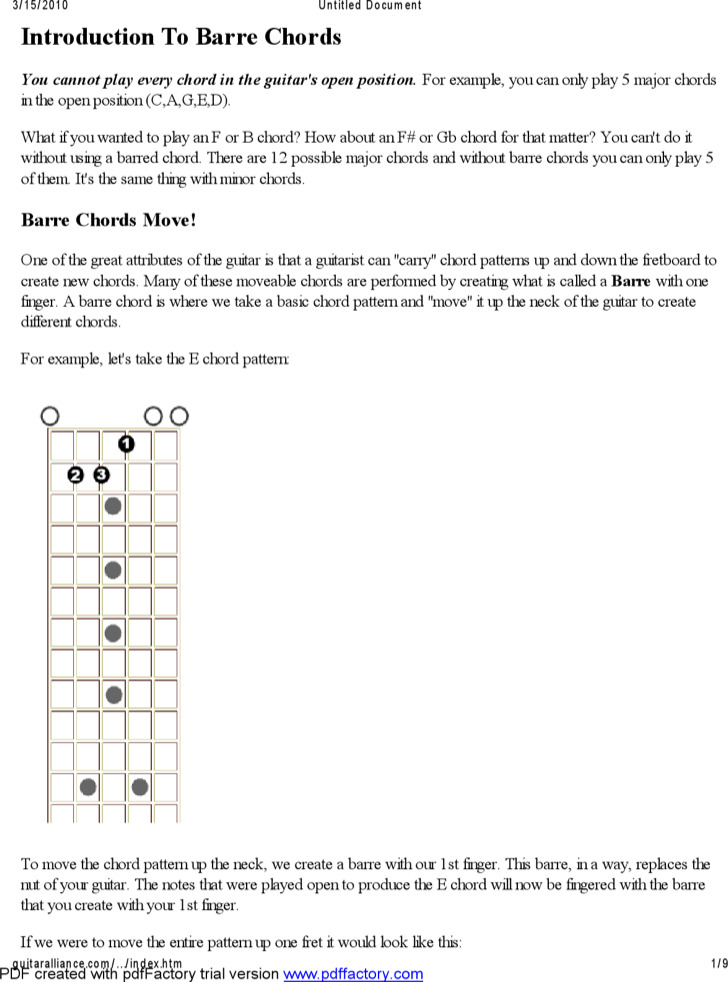 Example Basic Guitar Chord Chart With Fingers