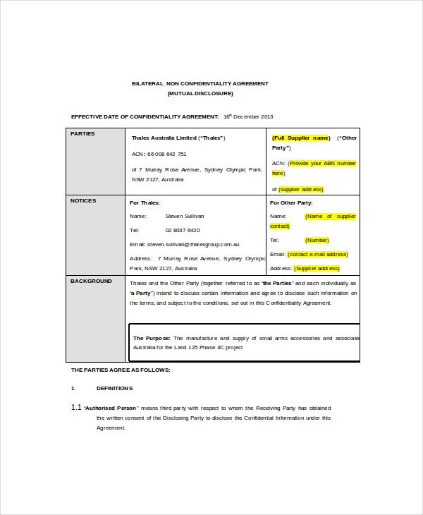 Example Bilateral NDA Template
