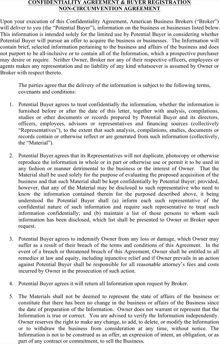 Example Business Confidentiality Agreement Form