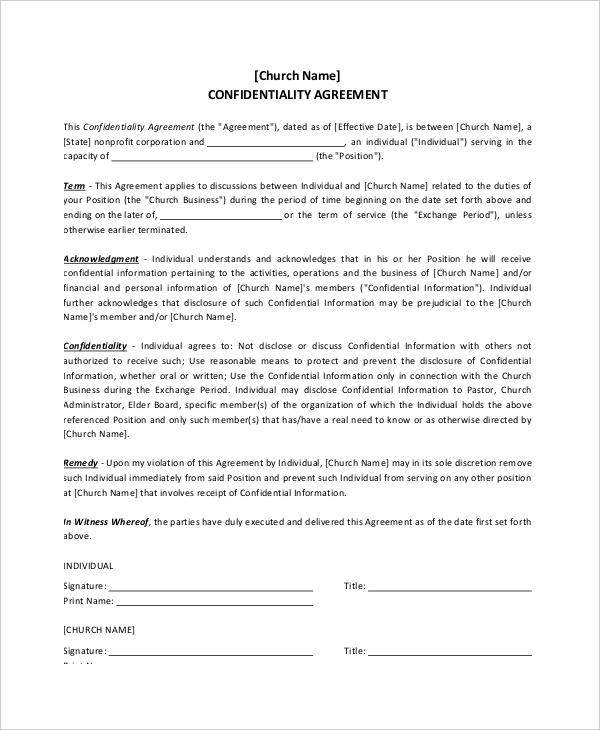 Hr Confidentiality Agreement. Sample Generic Human Resources
