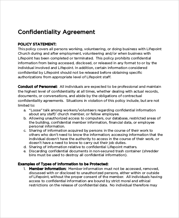 Church Confidentiality Agreement Templates | Download Free