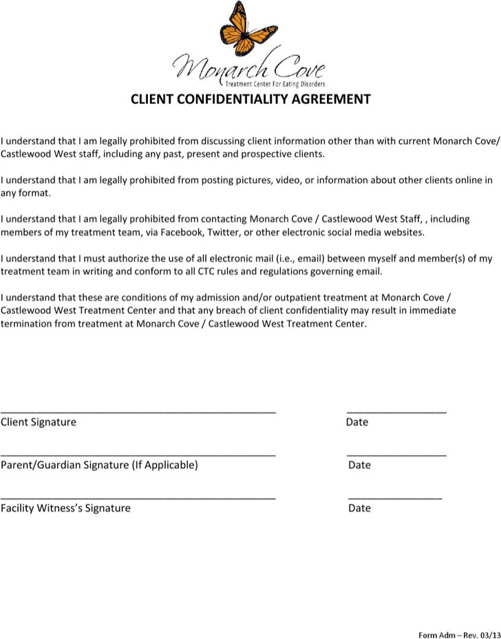 Example Client Confidentiality Agreement