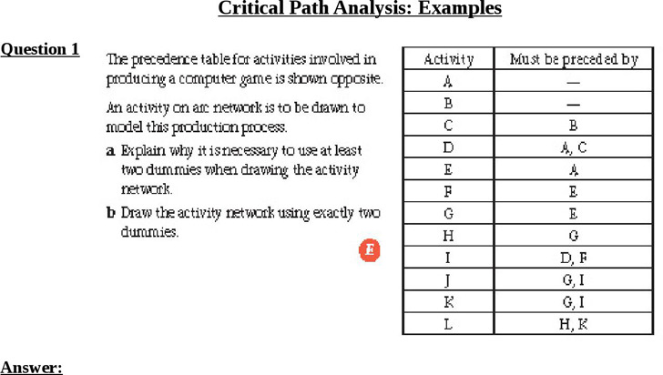 Example Critical Path Analysis