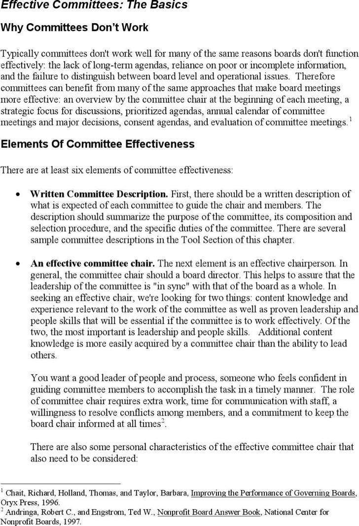 Example Effective Committee Meeting Agenda Template
