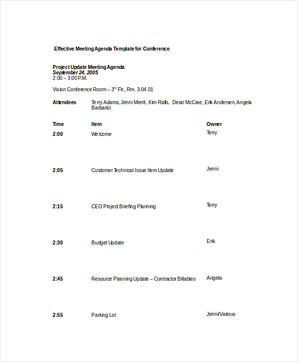 Example Effective Meeting Agenda Template for Conference