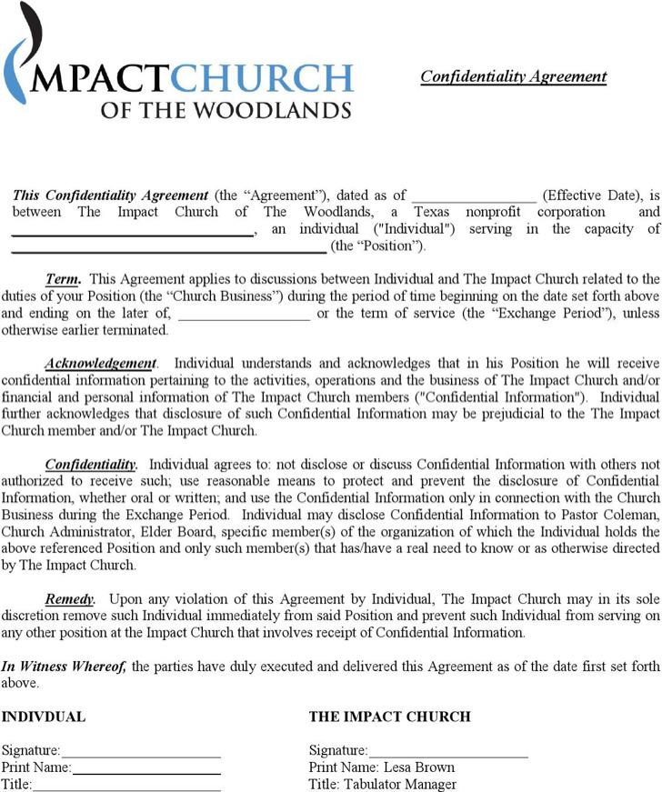 Business Confidentiality Agreement Templates – Financial Confidentiality Agreement