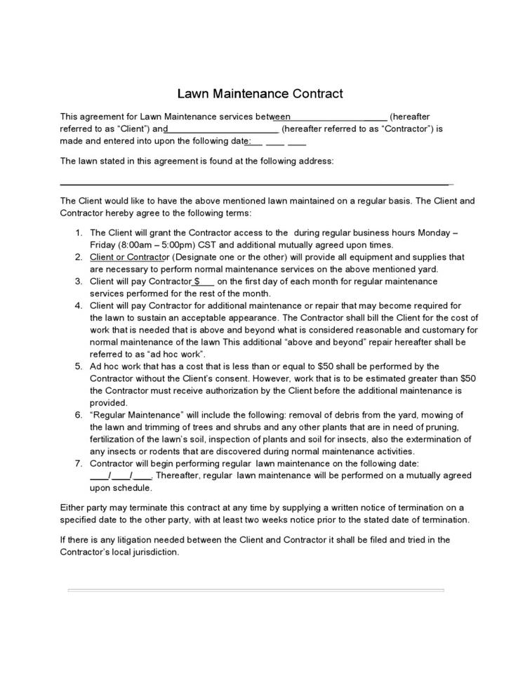 Lawn service contract templates download free premium for Garden maintenance contract template