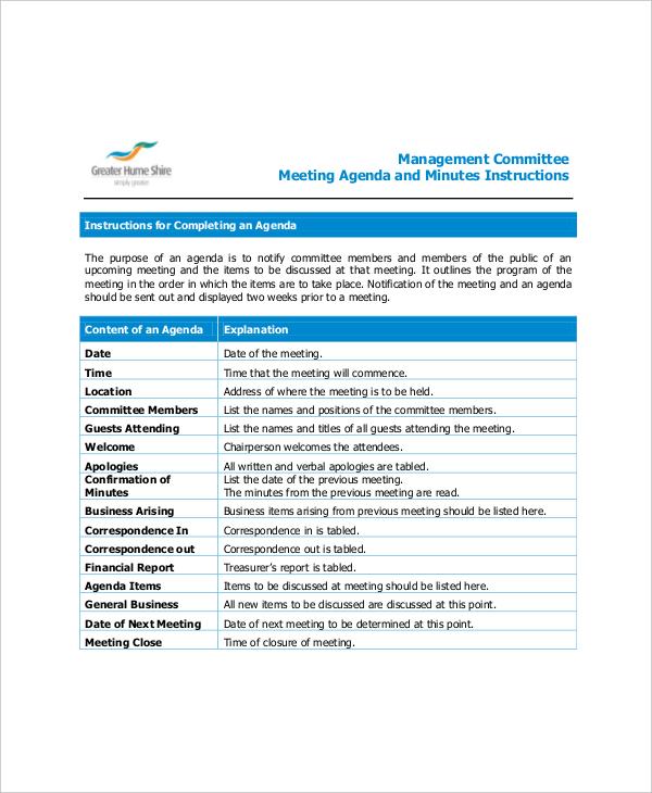 Example Management Committee Meeting Agenda