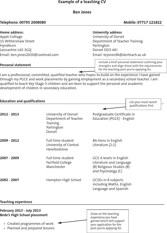 Example of a Teaching CV