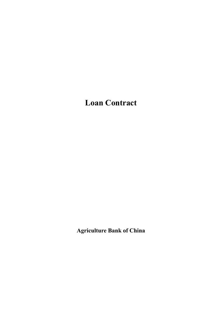 Example of Loan Contract Template free