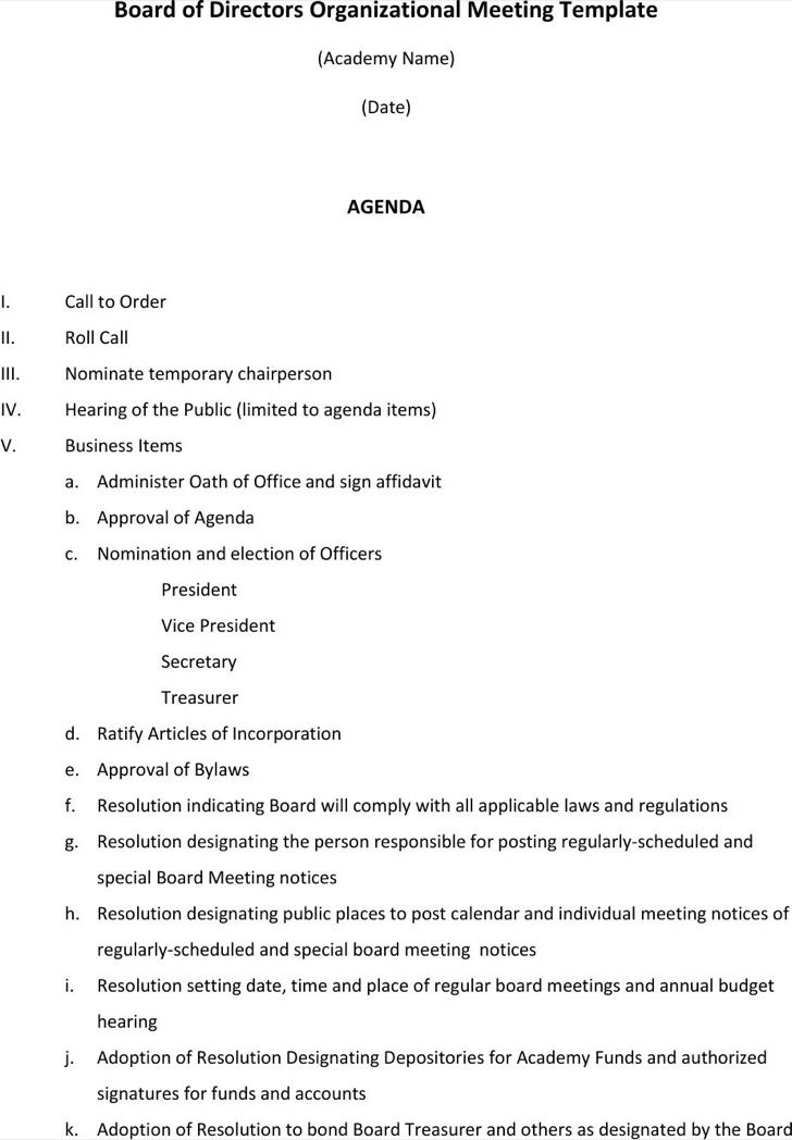 Board of directors meeting agenda templates download for First board meeting agenda template