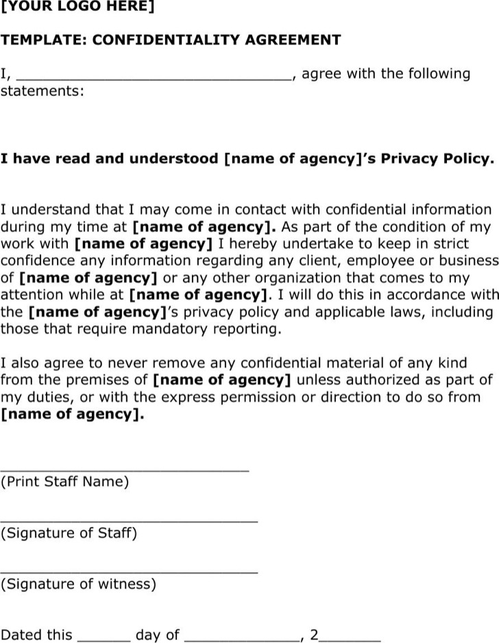 Example Precedent Business Confidentiality Agreement