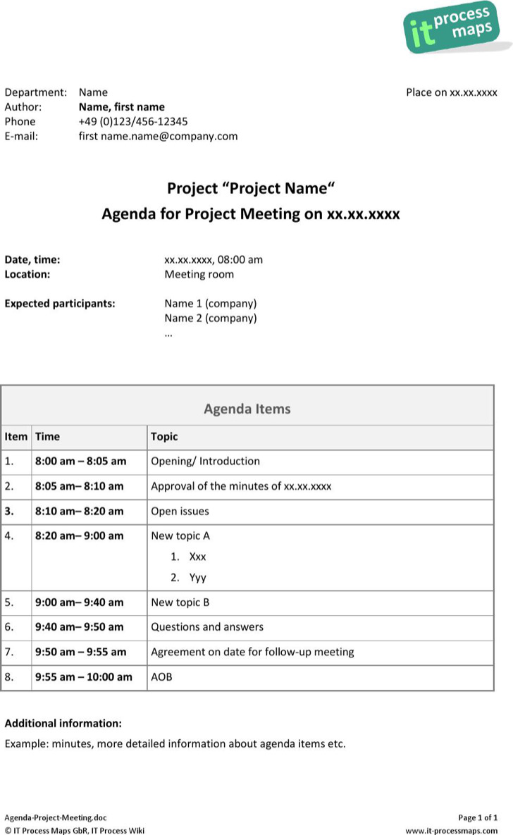 Example Project Management Meeting Agenda