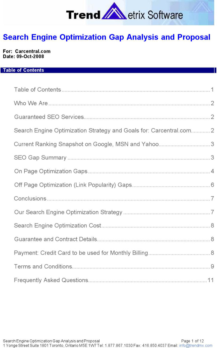 Example Search Engine Optimization Content Gap Analysis Template