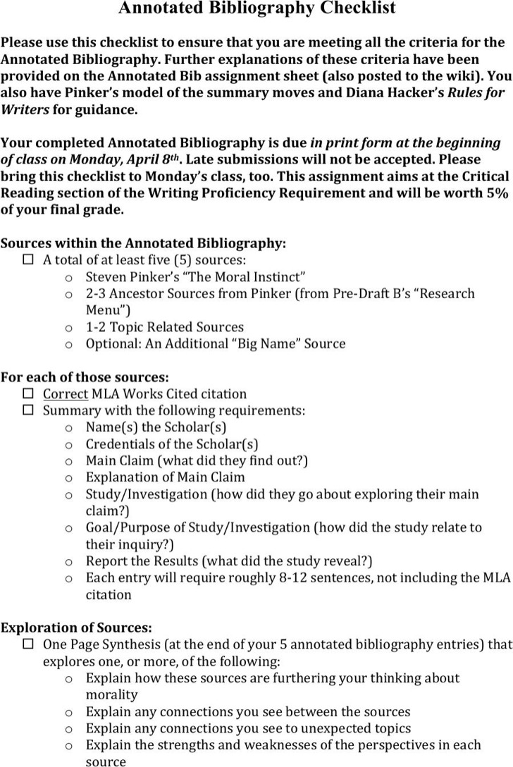 Example Simple Annotated Bibliography Checklist Download
