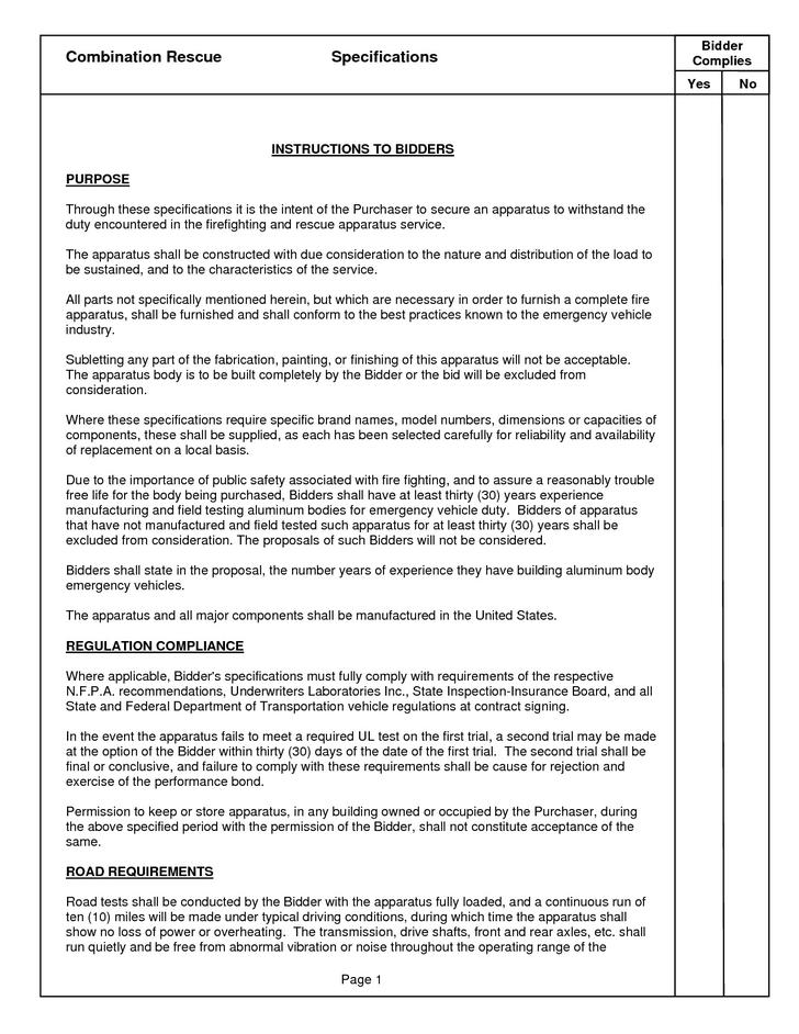Example Snow Removal Contract Bid Template
