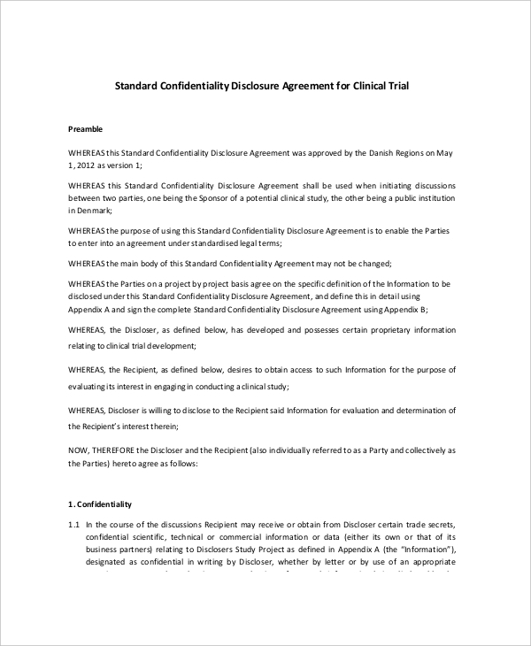 Standard Confidentiality Agreement Templates  Download Free