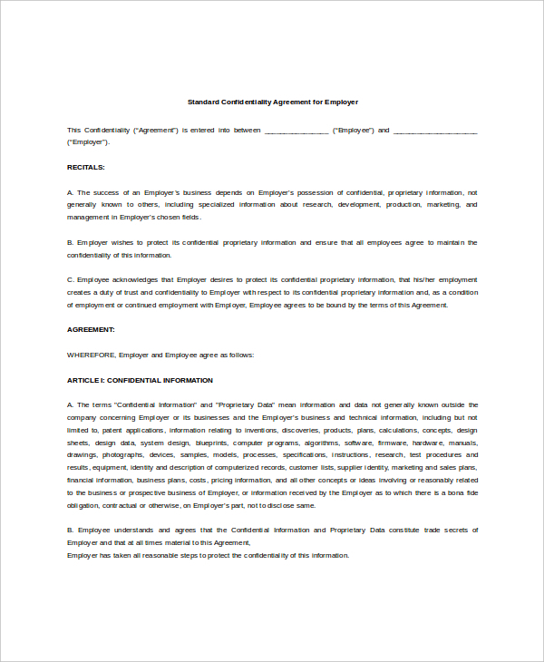 Example Standard Confidentiality Agreement for Employer