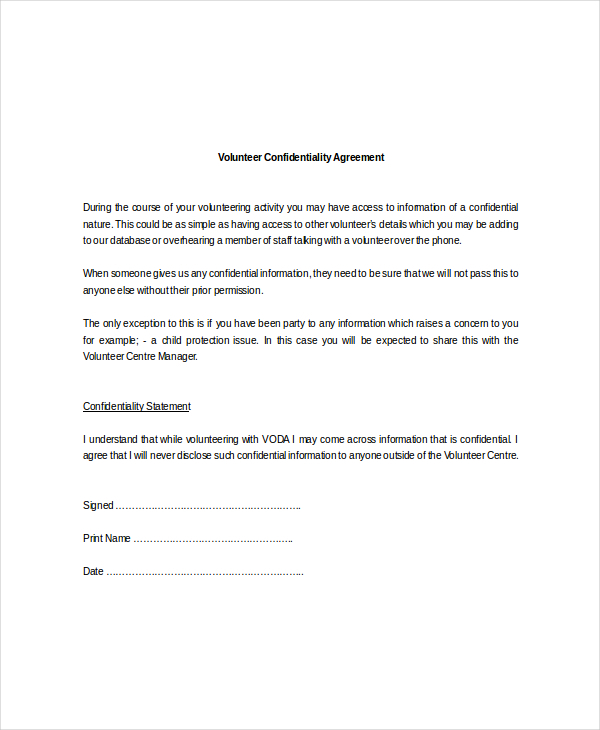 Volunteer Confidentiality Agreement Templates | Download Free