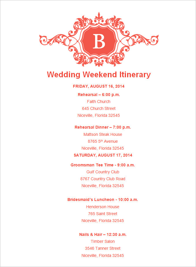 Sample Wedding Weekend Itinerary Templates To Celebrate Throughout
