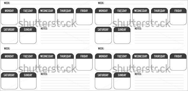 Example Weekly Planner Calendar Template