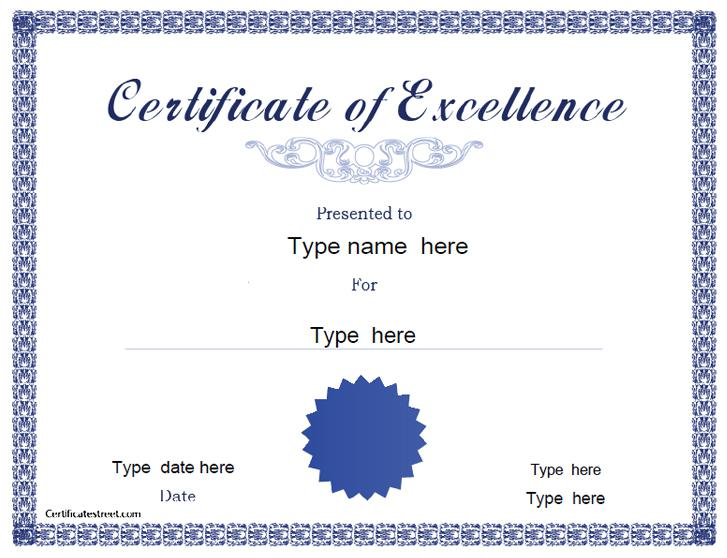Free printable certificate templates download free for Certificate of excellence template