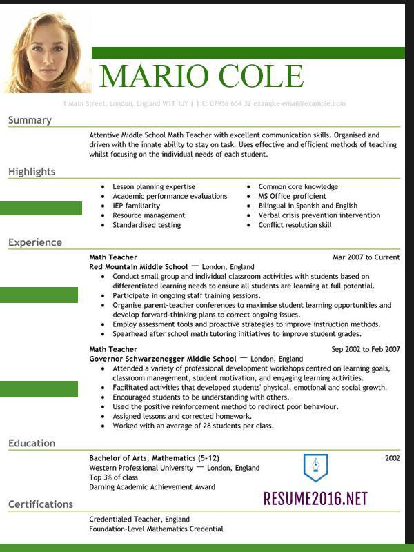 Excellent Resume Format