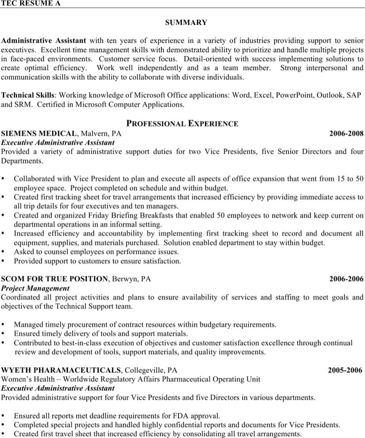 Executive Administrative Assistant Resume | Download Free